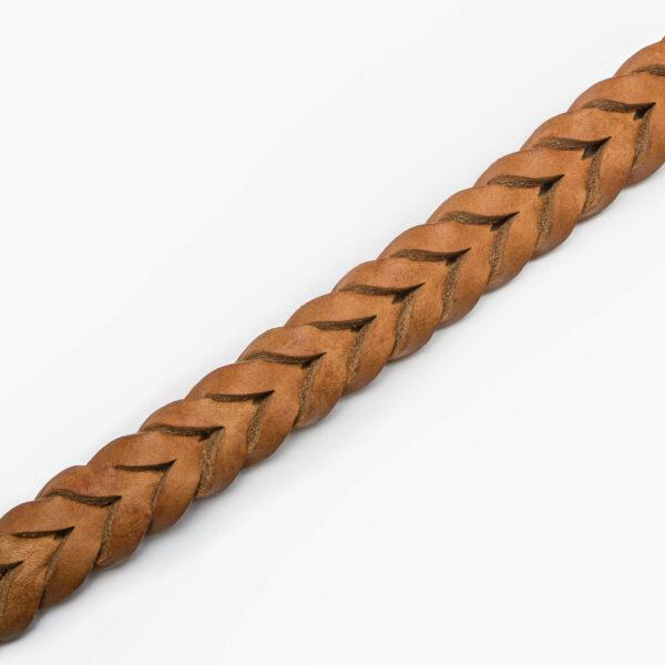 Ljusbrunt hundhalsband i flätat läder