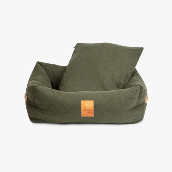 Khakigrön hundbädd med läderdetalj framtill