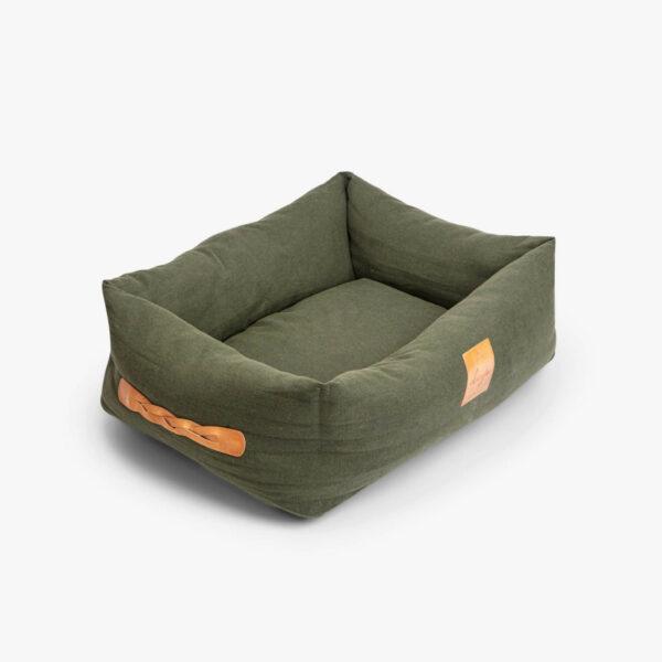 Rektangulär hundbädd i grön klädsel