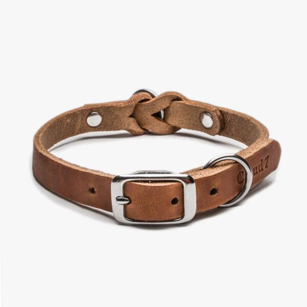 Slätt hundhalsband i färgen camel med spännen i rostfritt stål
