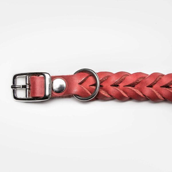 Spänne i rostfritt stål på ett flätat hundhalsband av rött läder