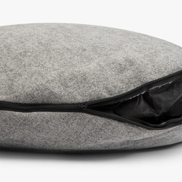 Dragkedja på madrass med avtagbar klädsel till ljusgrå rund hundbädd
